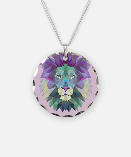 Triangle Colorful Lion Head Necklace