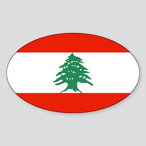 Flag of Lebanon Oval Sticker