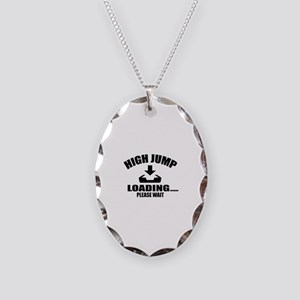 High Jump Loading Please Wait Necklace Oval Charm