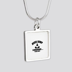 High Jump Loading Please W Silver Square Necklace