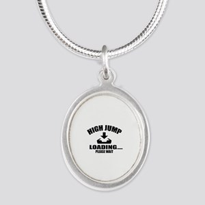 High Jump Loading Please Wait Silver Oval Necklace