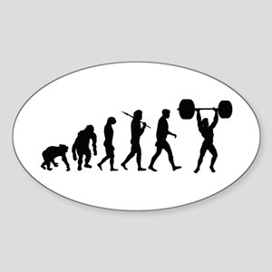 Evolution of Weightlifting Oval Sticker