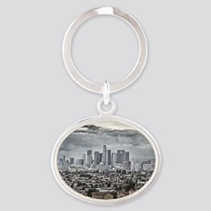 Los Angeles, East View Oval Keychain