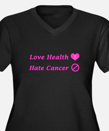 Love Health, Hate Cancer Charity Plus Size T-Shirt
