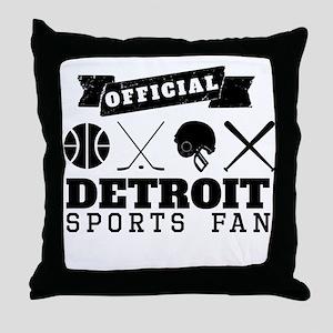 Official Detroit Sports Fan Throw Pillow