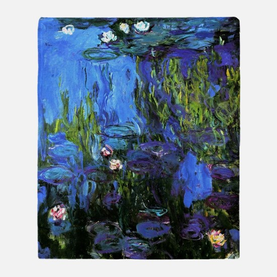 Monet painting, Water-Lilies blue in Throw Blanket