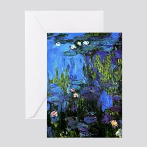 Monet painting, Water-Lilies blue in Greeting Card