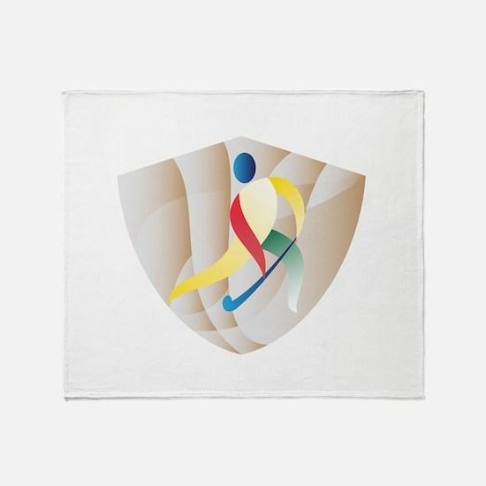 Field Hockey Player Shield Retro Throw Blanket