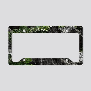 Waterfall Woodcut License Plate Holder