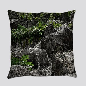 Waterfall Woodcut Everyday Pillow