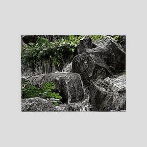 Waterfall Woodcut 5'x7'Area Rug