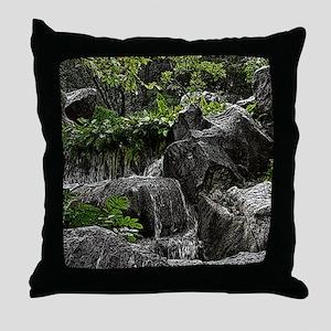 Waterfall Woodcut Throw Pillow