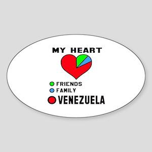 My Heart Friends, Family and Venezu Sticker (Oval)