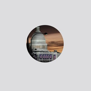United States Capitol Building at Dusk Mini Button