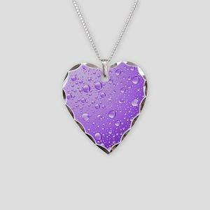 Metallic Purple Abstract Rain Necklace Heart Charm