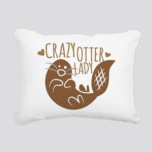 Crazy Otter Lady Rectangular Canvas Pillow