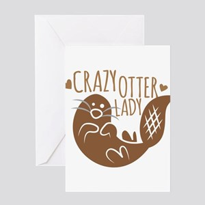 Crazy Otter Lady Greeting Cards