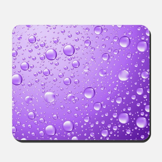 Metallic Purple Abstract Rain Drops Mousepad