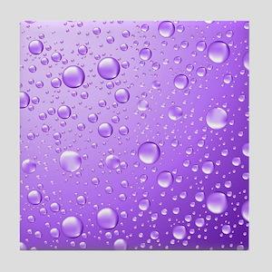 Metallic Purple Abstract Rain Drops Tile Coaster