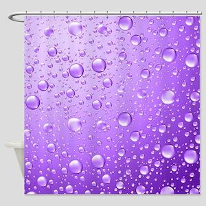 Metallic Purple Abstract Rain Drops Shower Curtain