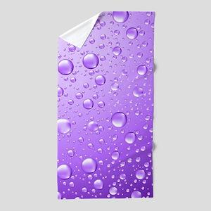 Metallic Purple Abstract Rain Drops Beach Towel