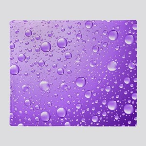Metallic Purple Abstract Rain Drops Throw Blanket