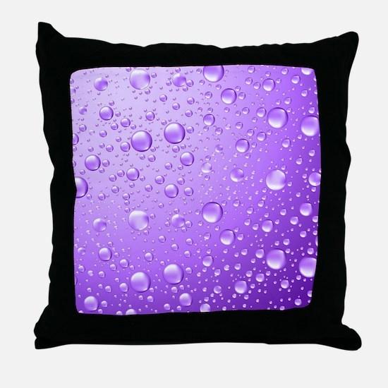 Metallic Purple Abstract Rain Drops Throw Pillow