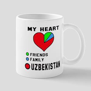 My Heart Friends, Family and Uzb 11 oz Ceramic Mug