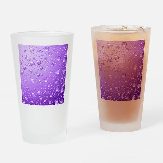 Metallic Purple Abstract Rain Drops Drinking Glass