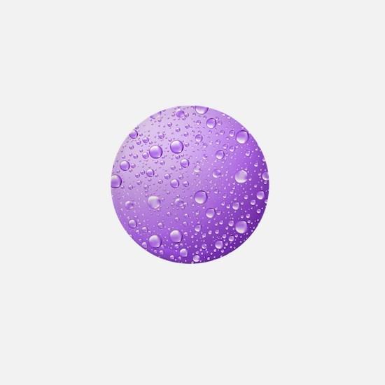 Metallic Purple Abstract Rain Drops Mini Button