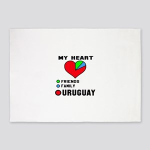 My Heart Friends, Family and Urugua 5'x7'Area Rug