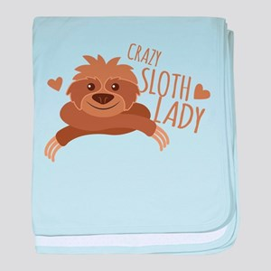 Crazy Sloth lady baby blanket