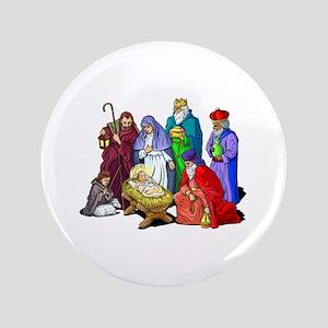 "Colorful Christmas Nativity Scene 3.5"" Button"