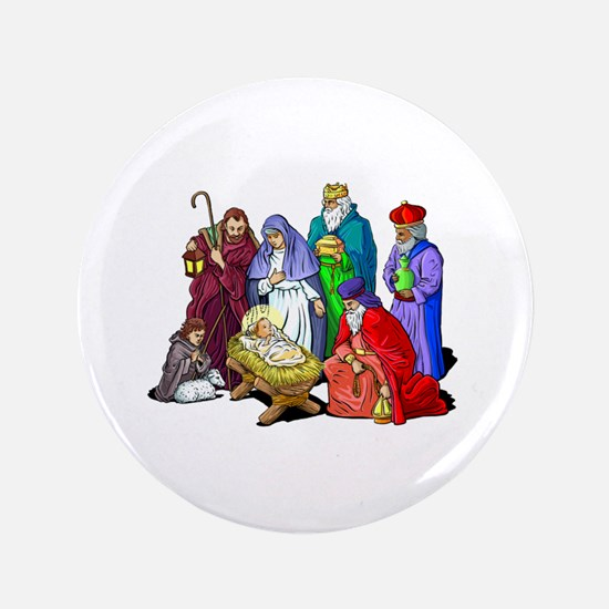 "Colorful Christmas Nativity Scene 3.5"" Button"