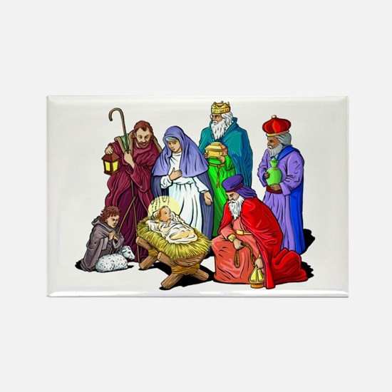 Colorful Christmas Nativity Scene Magnets