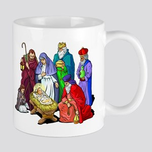 Colorful Christmas Nativity Scene Mugs
