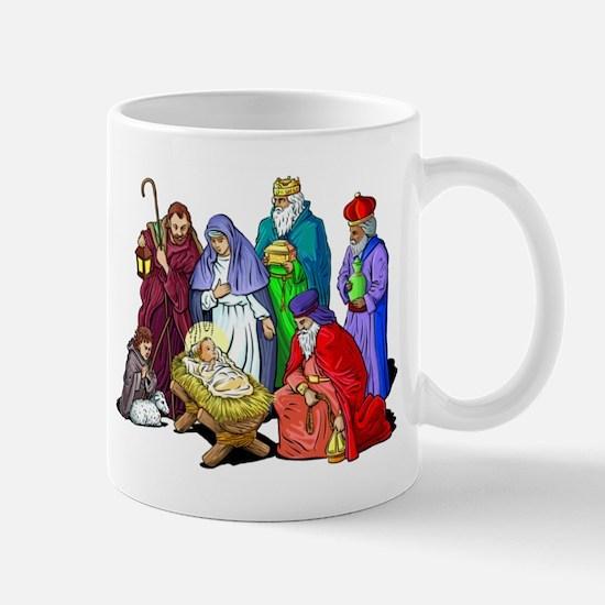 Colorful Christmas Nativity Scene Mugs