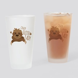 Crazy Sloth lady Drinking Glass