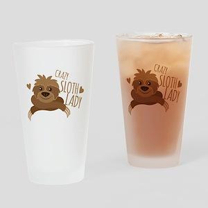 Crazy Sloth lady Drinking Glass