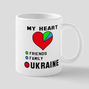 My Heart Friends, Family and Ukr 11 oz Ceramic Mug