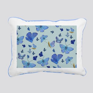 All Over Moth on Blue Rectangular Canvas Pillow