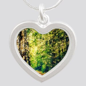 Sunlit Trail Silver Heart Necklace