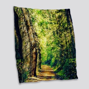 Sunlit Trail Burlap Throw Pillow