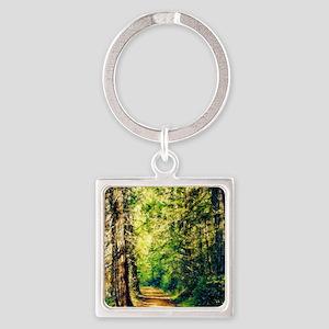 Sunlit Trail Square Keychain