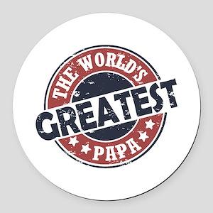 Worlds Greatest Papa Round Car Magnet