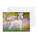 Whippet in Monet's Garden Greeting Card