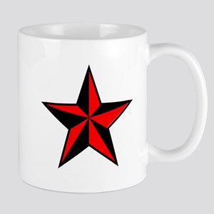 red and black star Mugs