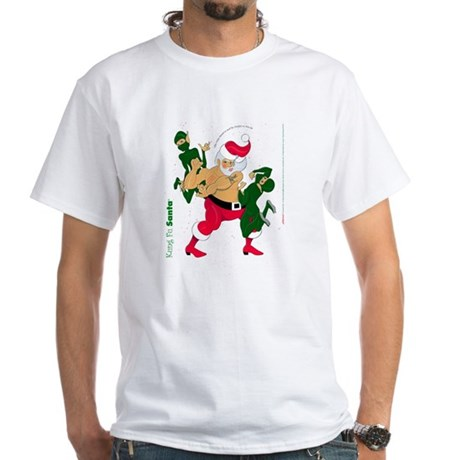 Kung Fu Santa White T-Shirt