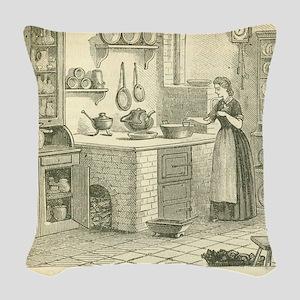 German Victorian Era Kitchen Woven Throw Pillow