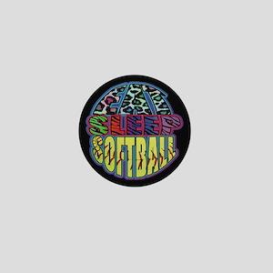 Eat Sleep Softball Wild Animal Print Mini Button (